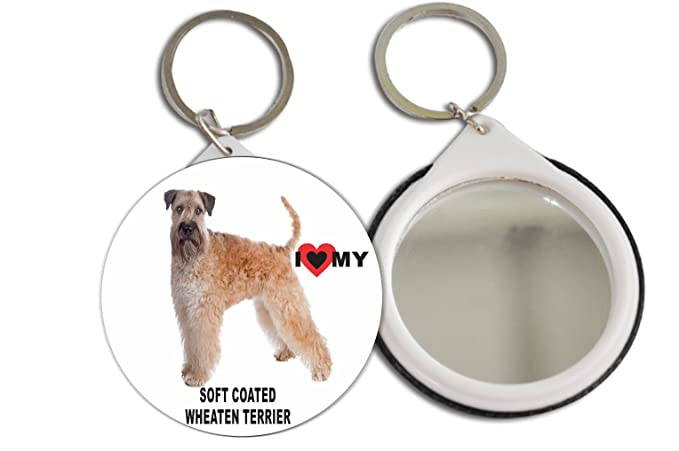 Rikki Knight I Love My Soft Coated Wheaten Terrier Dog Design Mirror Button 2 25 Inch Key