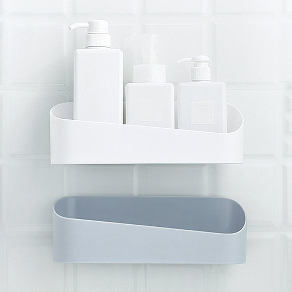 GEZICHTA 2 PCS Shower Organiser Storage Box, Wall Mounted Floating Bathroom Shelves Shower Rack Adhesive Shelf(26.59,White)