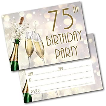 75th Birthday Party Invitations Age 75 Male Mens Female Womens Pack