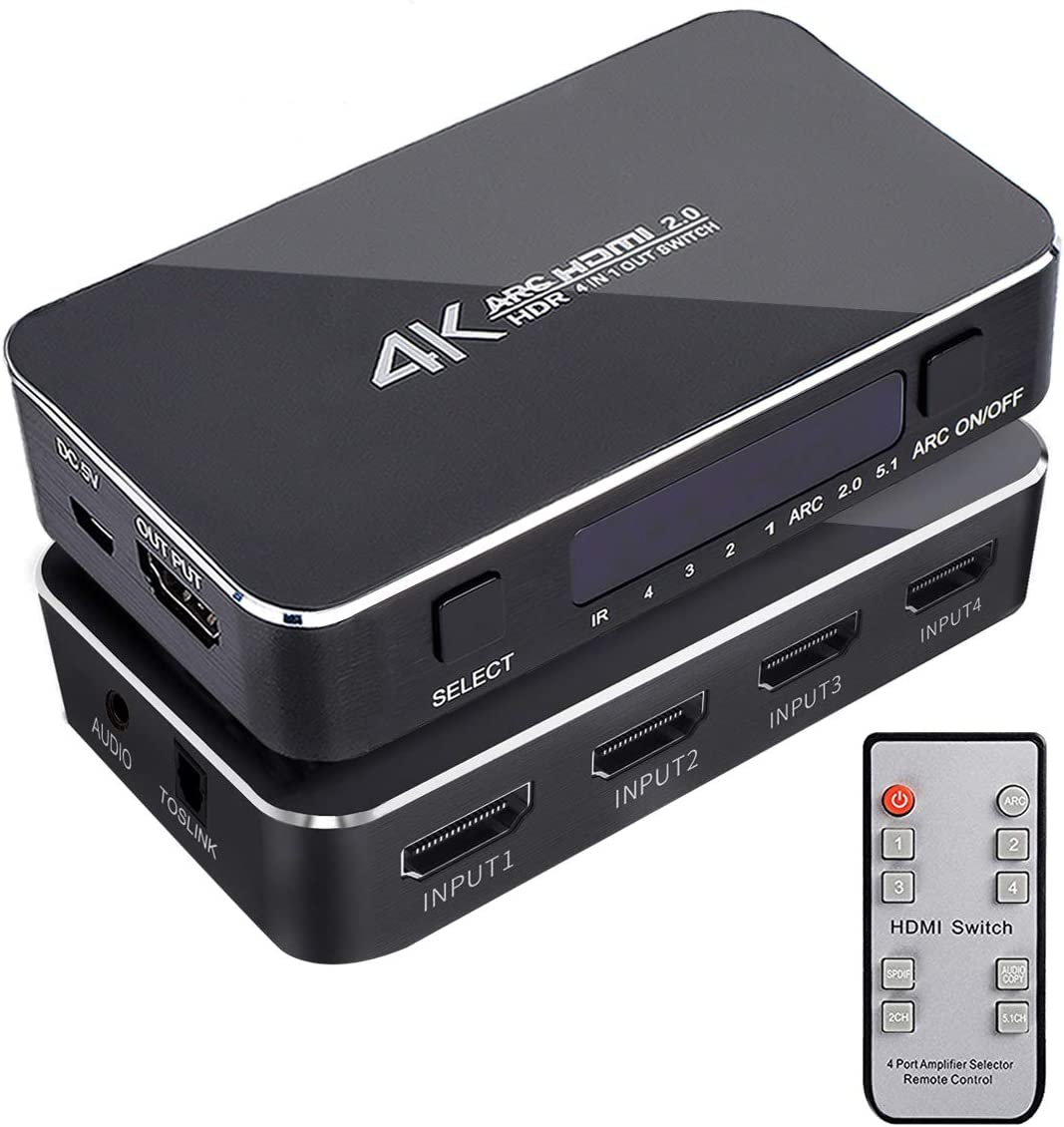 HDMI Switch Box Support 4K 3D HDMI Switch 1080P 4 Port HDMI Switch with Remote