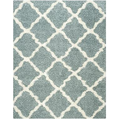 Safavieh Dallas Shag Collection SGD257C Seafoam and Ivory Area Rug, 6 feet by 9 feet (6' x 9')