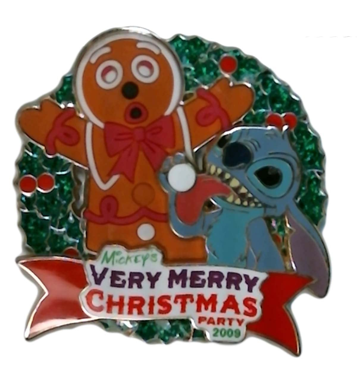 Disney Pins Mickey S Very Merry Christmas Party 2009 Stitch And Gingerbread Man Limited Edition Pin 73792 Multicoloured Small