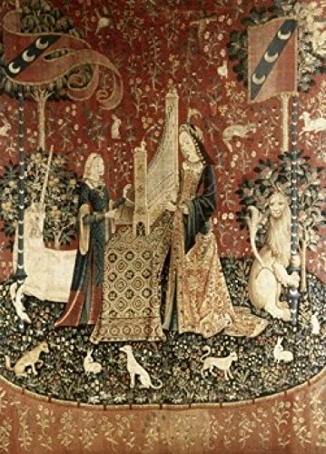 Posterazzi Lady & the Unicorn - Sense of Hearing 15th Century Tapestry (Flemish) Musee National du Moyen Age Thermes & Hotel de Cluny Paris France Poster Print (24 x ()