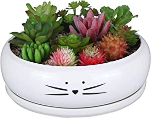 Koolkatkoo 8 Inch Large Cute Cat Ceramic Succulent Planter Pots with Removable Saucer Unique Porcelain Cactus Planters Decorative Flower Pot for Cat Lovers White