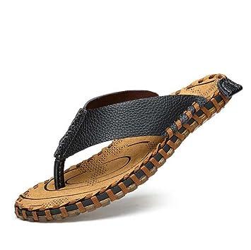 Zapatillas Cintas Chanclas Hombres Clip dedo del pie Zapatillas Antideslizante Costura a mano Sandalias de playa Zapatos casuales Tamaño de la UE 38-44: ...