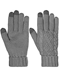 Warm Texting Gloves For Women, Cable Knit Touchscreen Winter Text Gloves Cute & Cozy Fleece Lining