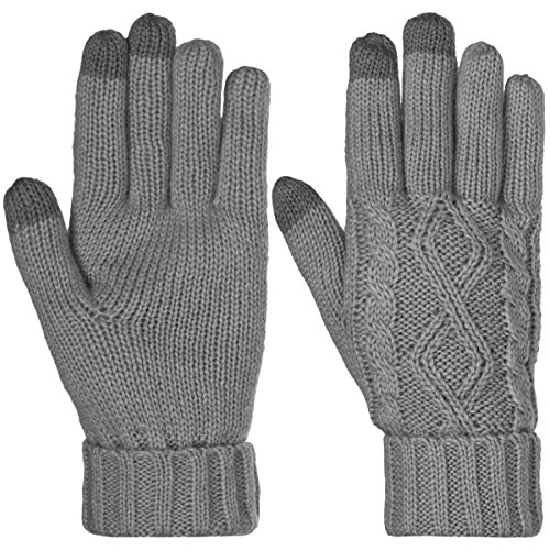 Dg Hill Warm Texting Gloves For Women  Cable Knit Touchscreen Winter Text Gloves Cute   Cozy Fleece Lining Charcoal Gray Os