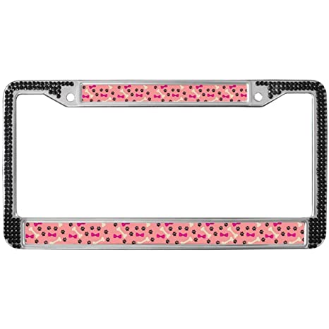Paws Black Motorcycle LICENSE plate frame Paw Prints