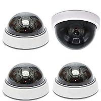 HOTSO 4PCS Caméra Factice Dôme Sans Fil Faux Simulation de Sécurité Extérieur avec Look Réaliste LED IR pour Protection de Sécurité de Magasin et Maison