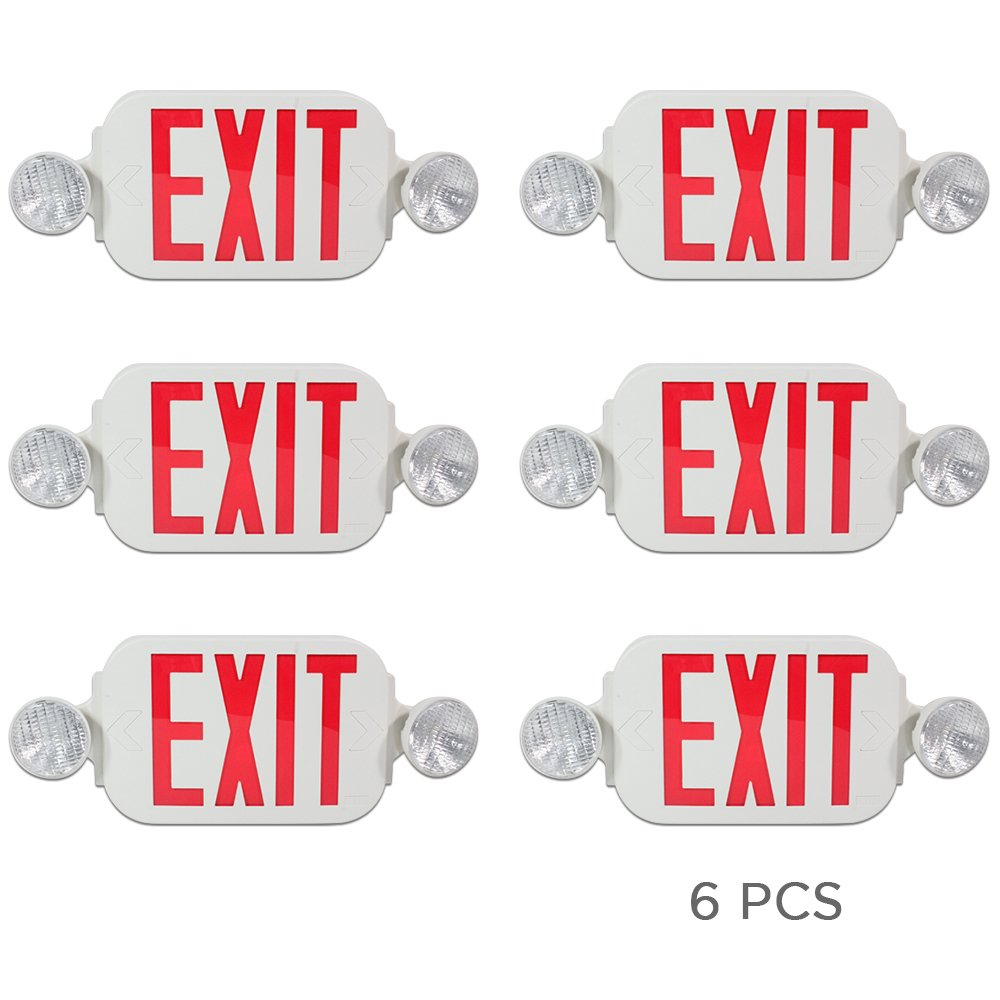 eTopLighting [6 Pack] LED Red Exit Sign Emergency Light Combo with Battery Back Up UL924 ETL listed, Red Lettering in White Body, Bug Eye Side Light, AGG2194 by eTopLighting