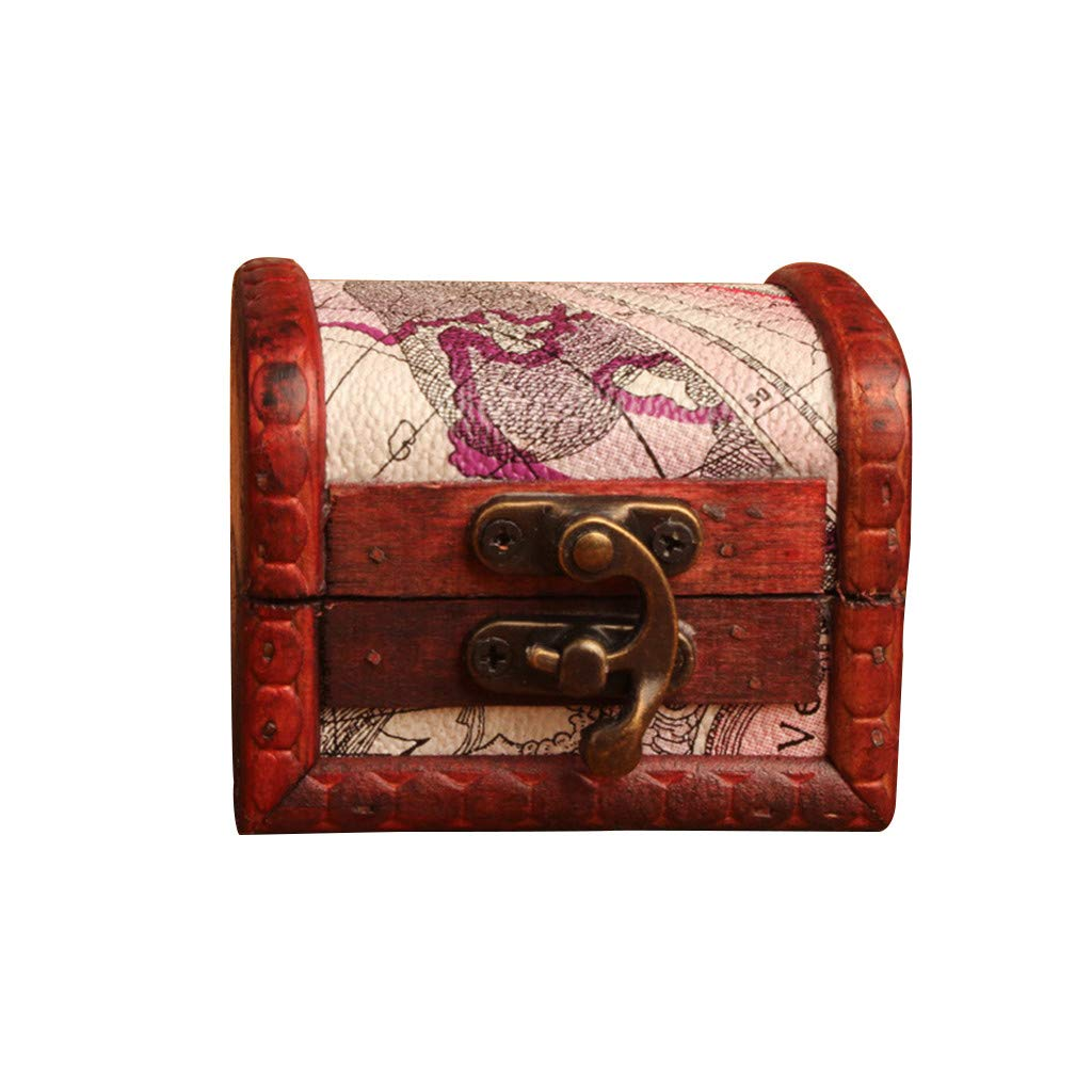 Clearance Sale!DEESEE(TM)Jewelry Box Vintage Wood Handmade Box with Mini Metal Lock for Storing Jewelry Treasure Pearl