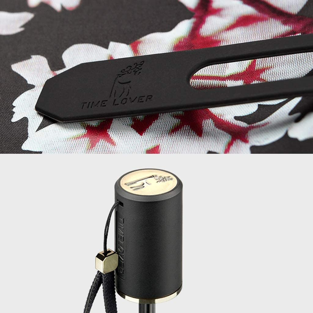 QXX-umbrella Folding Sunshade Reinforcement Windproof Sunscreen Anti UV Female Cherry Fashion 23.6x37.4in Color : Pink