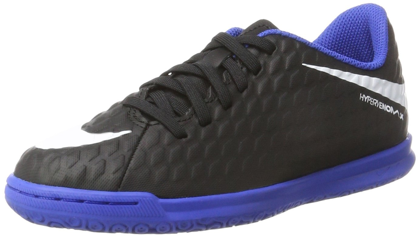 NIKE Kids' Hypervenomx Phade III Indoor Soccer Shoes (1.5, Black/Royal)
