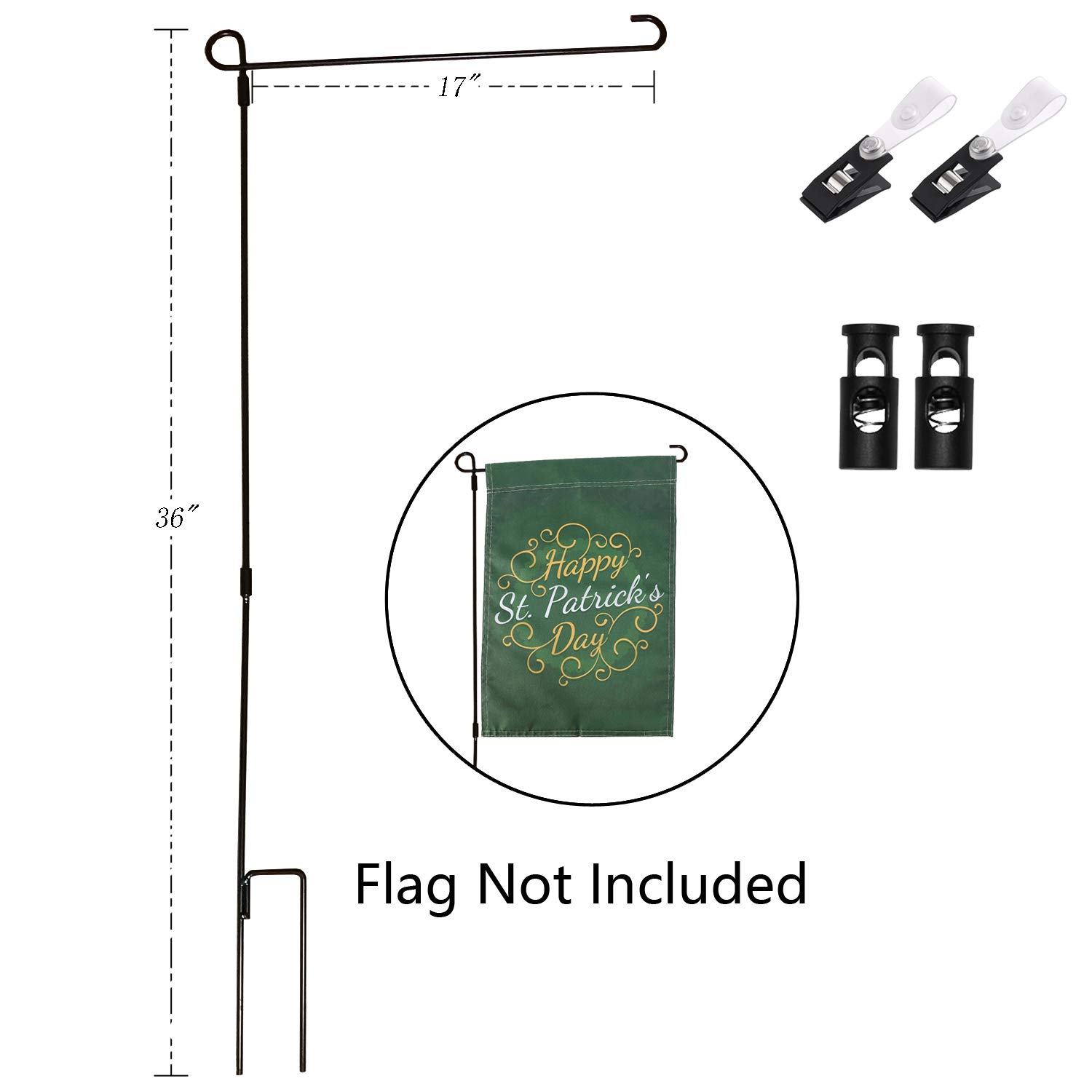 Yeeher Garden Flag Stand Holder for 12'' x 18'' Mini Flag Pole Only (Steel-01)