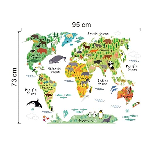 Amazon sancansn wall sticker animal world map wall stickers amazon sancansn wall sticker animal world map wall stickers kids rooms bedroom decor home living colorful 73cm x95cm multicolor clothing gumiabroncs Gallery