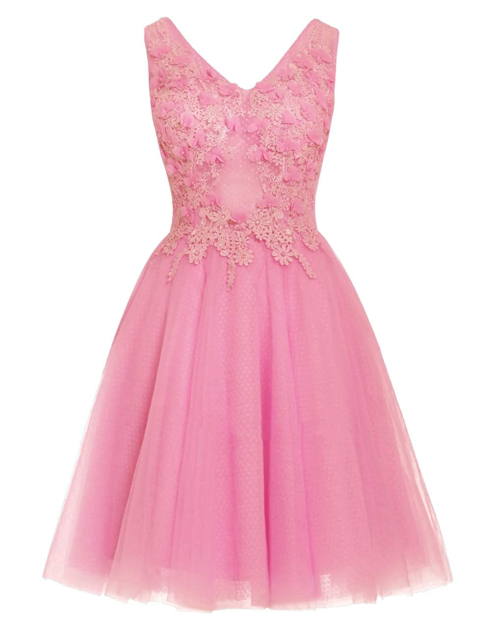 Deep Pink Uther Short Homecoming Dresses Lace Appliques 2018 Prom Wedding Party Dress V Neck