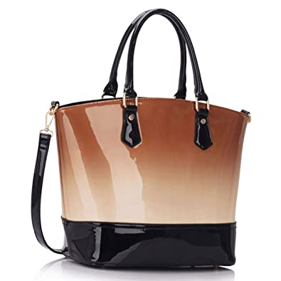 7945aa39c35 Xardi London Nude Celebrity Patent Faux Leather Ladies Two Toned Bucket  Tote women Shoulder Bags  Amazon.co.uk  Shoes   Bags