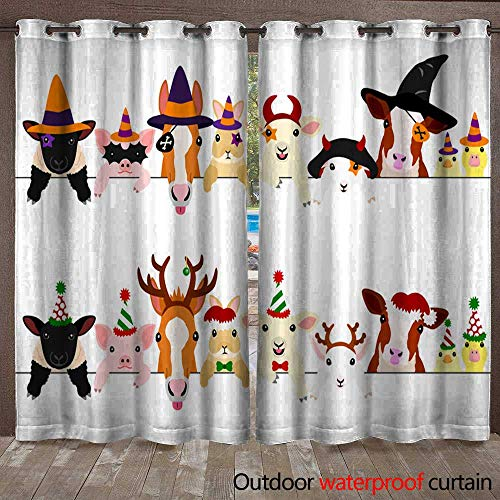BlountDecor Outdoor Curtain Panel for Patio Cute Farm Animal Babies Border Set with Halloween Costumes and with Christmas Costumes Waterproof CurtainW120 x L108 -