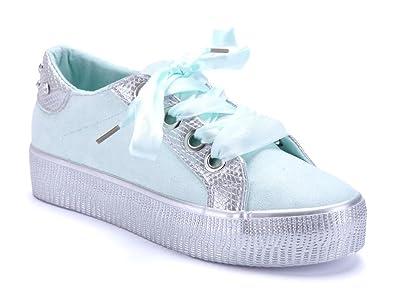 bc08d3d2aa841a Schuhtempel24 Damen Schuhe Low Sneaker grün flach Nieten Ziersteine