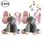 Peek-a-Boo Elephant Animated Talking Singing Stuffed Plush Doll,Elephant Baby Cute Stuffed Doll Toys for Tollder Kids Boys Girls Gift Present (30cm, 2PCS Pink)