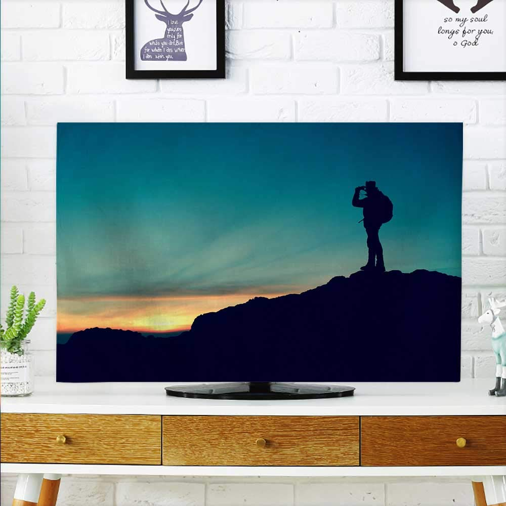 aolankaili Cover for Wall Mount tv Mountaineers Travel Silhouette Cover Mount tv W19 x H30 INCH/TV 32''
