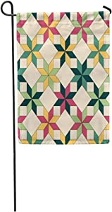 Semtomn Garden Flag Blue Pattern Quilt Colorful Star Geometric Diamond Folk Patch Ethnic Home Yard House Decor Barnner Outdoor Stand 12x18 Inches Flag