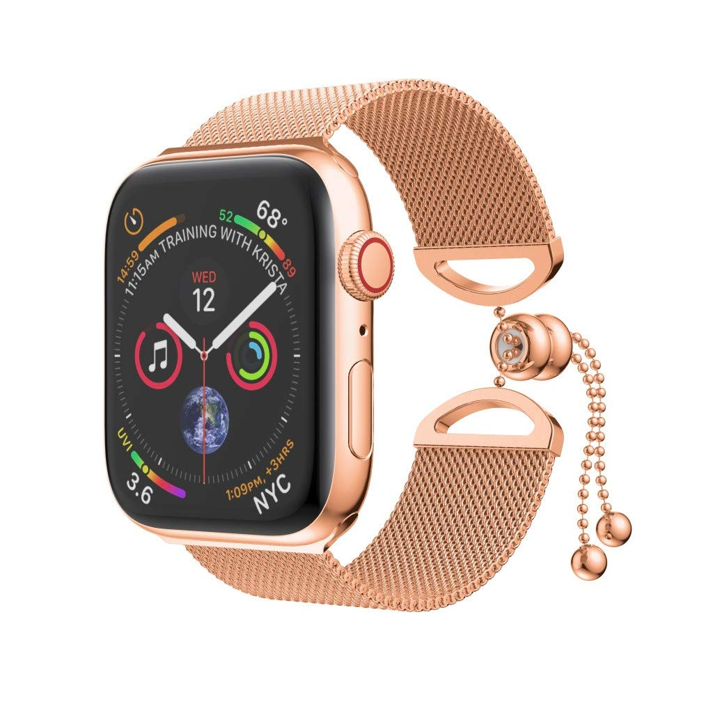 Cywulin Compatible for Apple Watch Band Bracelet 40mm 44mm 38mm 42mm, Stainless Steel Mesh Milanese Watch Loop Bangle Cuff Replacement Strap for iWatch Series 4 3 2 1 Adjustable (38mm/40mm, Rose Gold)