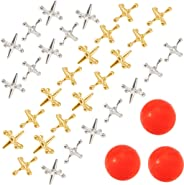 Biubee 3 Sets Retro Metal Jacks and Ball Game- 30 Pcs Gold and Silver Toned Jacks with 3 Red Rubber Bouncy Balls, Classic Ga