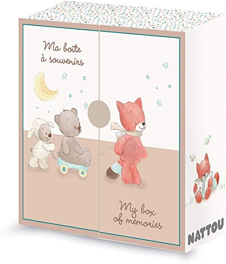 Nattou Caja de almacenaje para bebé, Para recuerdos y souvenirs, Fanny y Oscar, 25 x 9 x 26,5 cm, Blanco/beige: Amazon.es: Bebé