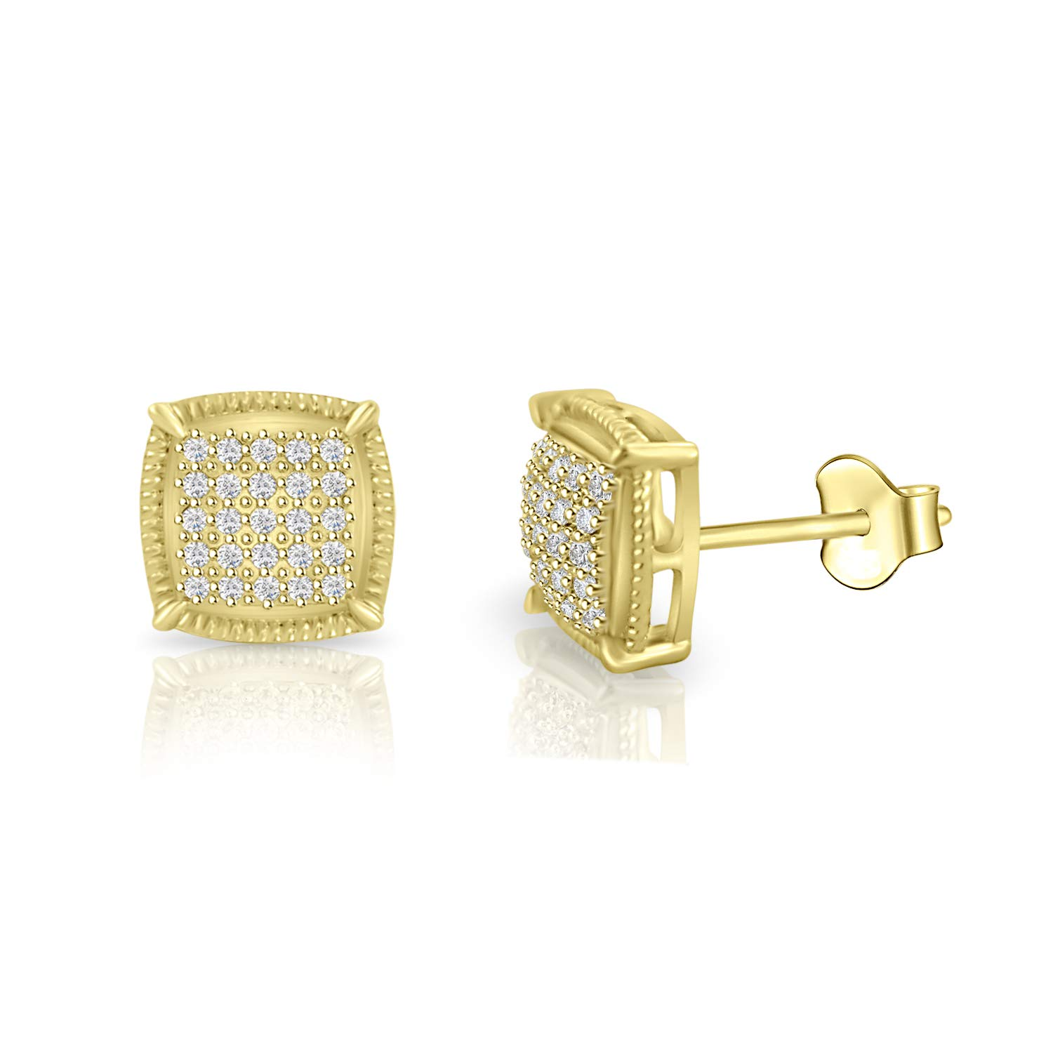 Round Cubic Zirconia Square Cluster Milgrain Stud Earrings in 14k Gold Plated
