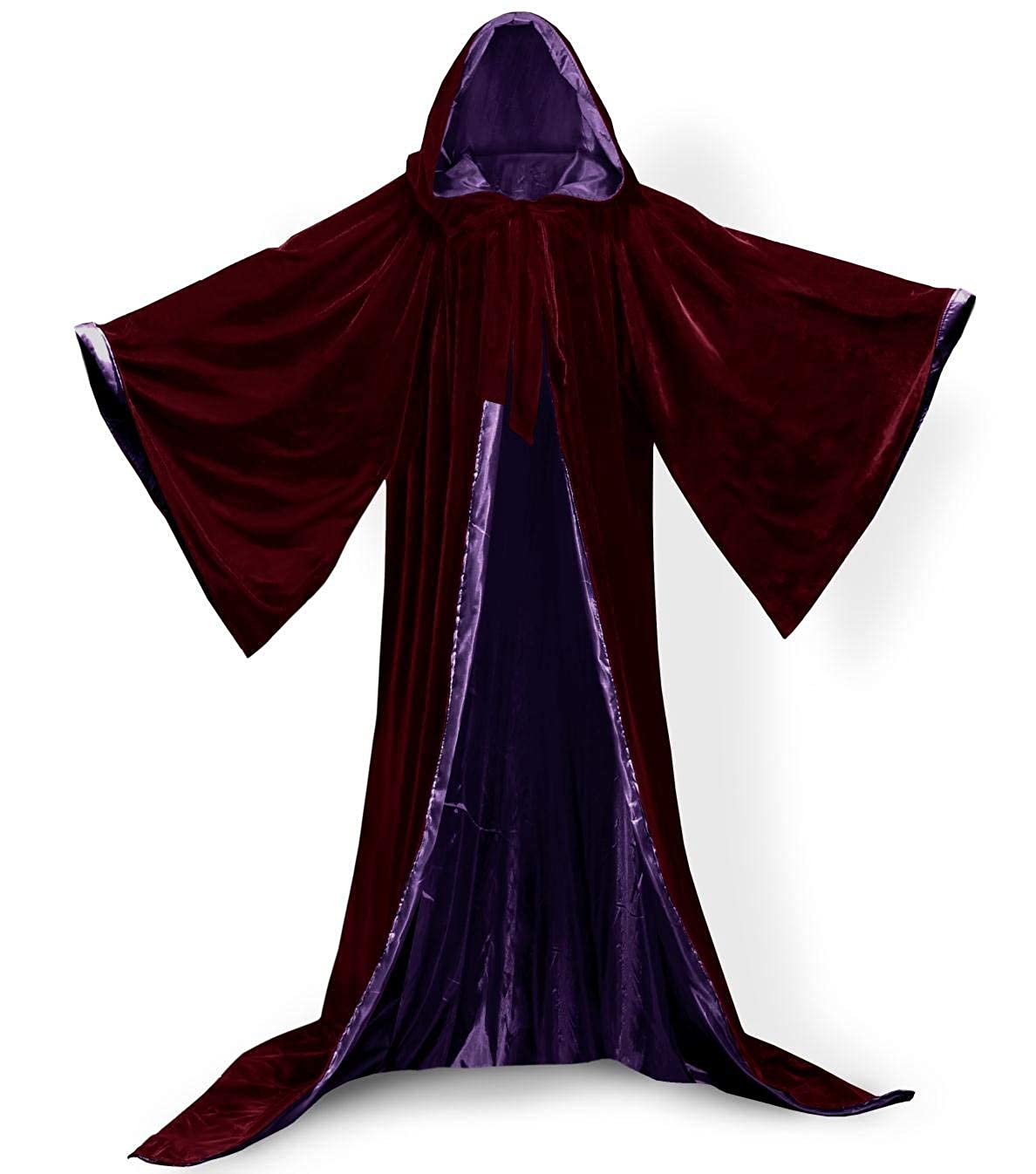Burgundypurple M ShineGown Burgundy Medieval Wizard Robe with Hoods Halloween Cloak Long Sleeves Velvet Unisex Masquerade for Christmas Party Costume Ball Gothic Full Length Cape Cosplay Fancy Coat Many colors