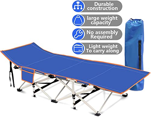 Wamkos Foldable Camping Cots for Adults with Air Cushion Pillow, 440LBS Max Load Portable Sleeping Cots Bed for Outdoor Travel Office and Home