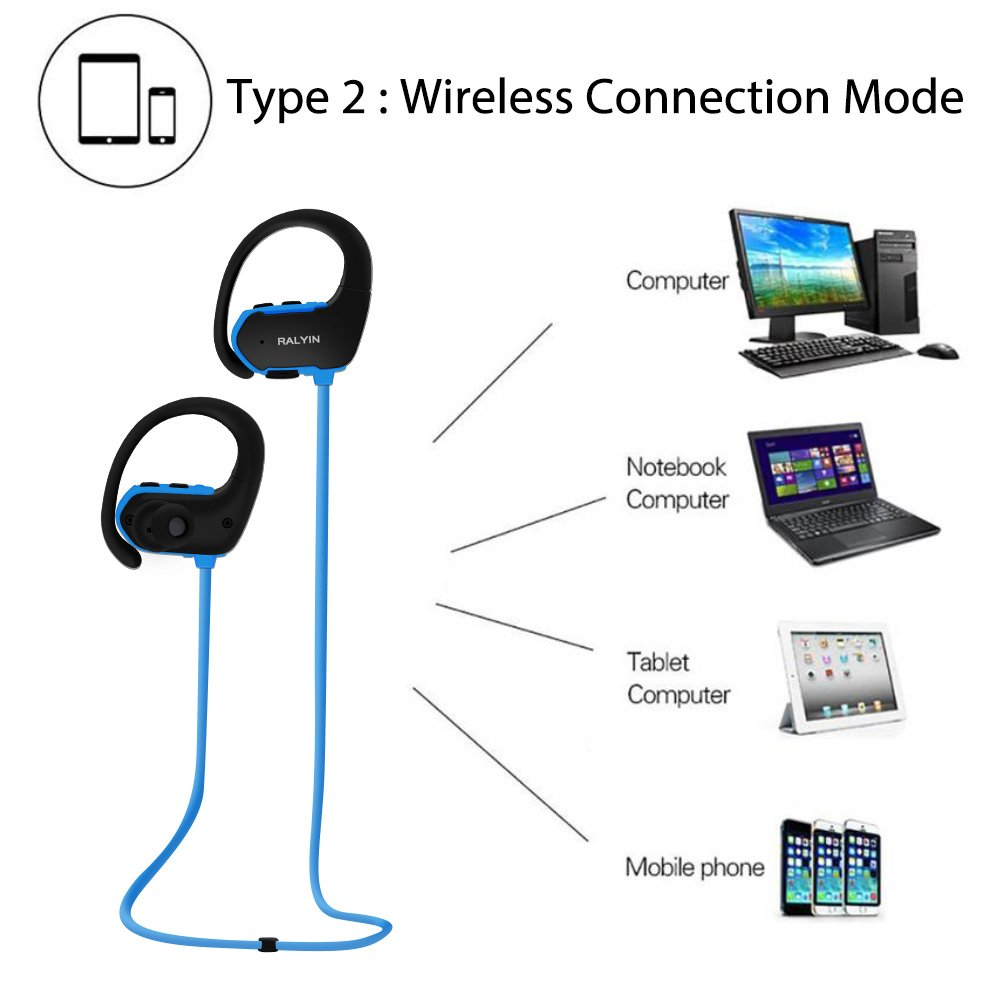 MP3 Headphones Built in 8GB TF Card Memory Storage,Ralyin Bluetooth Earbuds with Microphone Wireless Headphones for Working Sport Audifonos Waterproof Cordless Earphones w mic Headset Audiobook blue