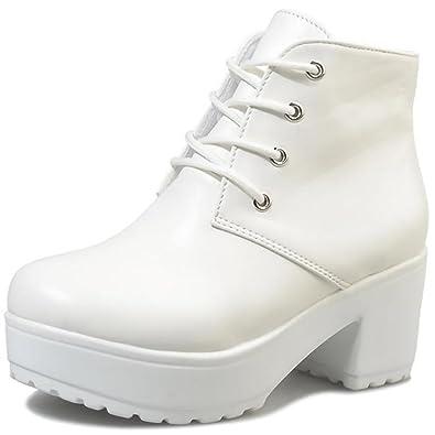 4d051a5831 Beaumens Women's Lace up Platform High Heels Fake Leather Short Boots (6.5  B(M