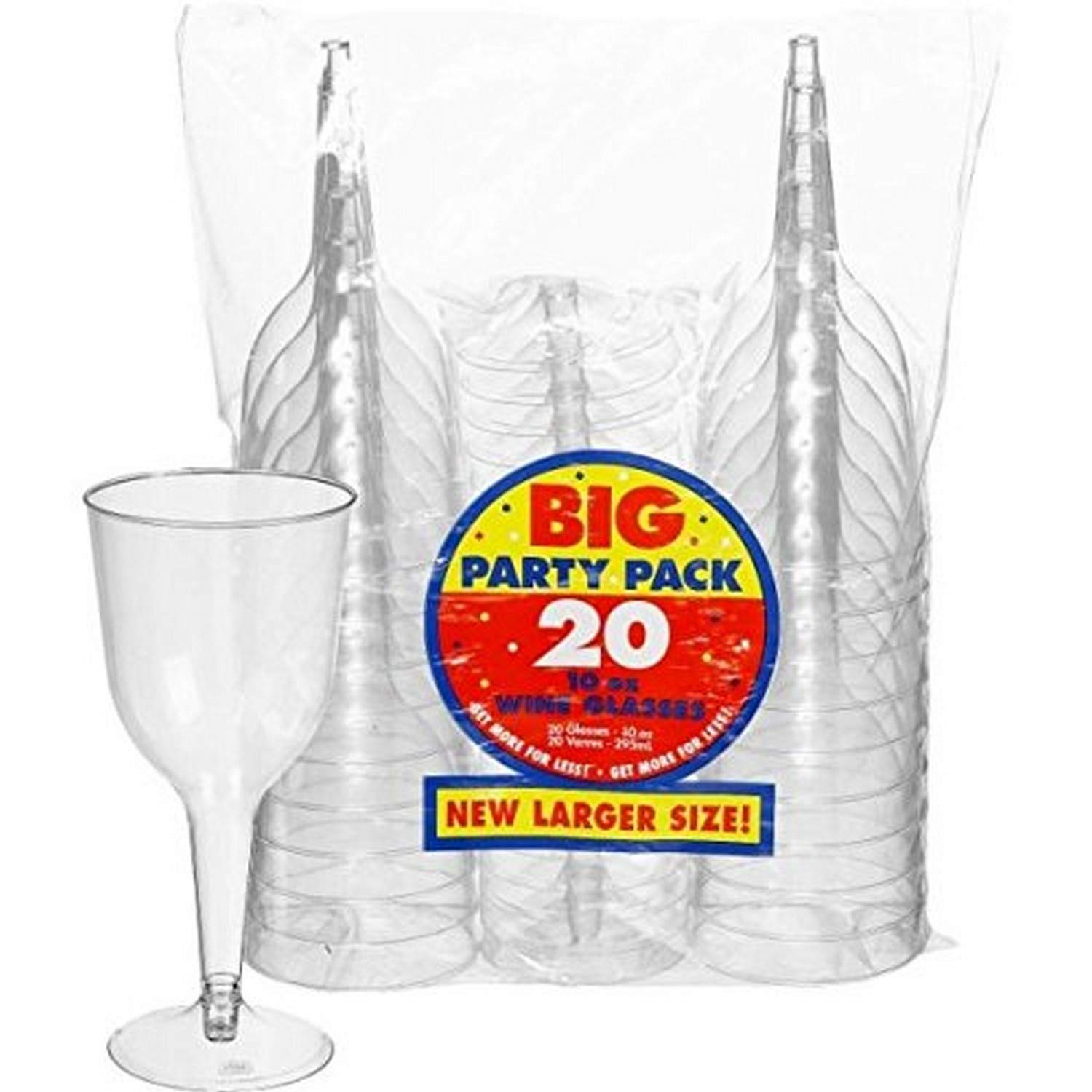 Big Party Pack Clear Plastic Wine Glasses   10 oz.   Pack of 20   Party Supply