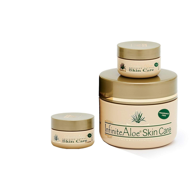 InfiniteAloe Skin Care Cream: 1 Fragrance Free 8 oz jar (Plus 2 Bonus travel sizes!) by InfiniteAloe
