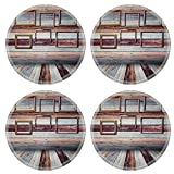 MSD Round Coasters Non-Slip Natural Rubber Desk Coasters design 21985575 Picture on wall in vintage wood room