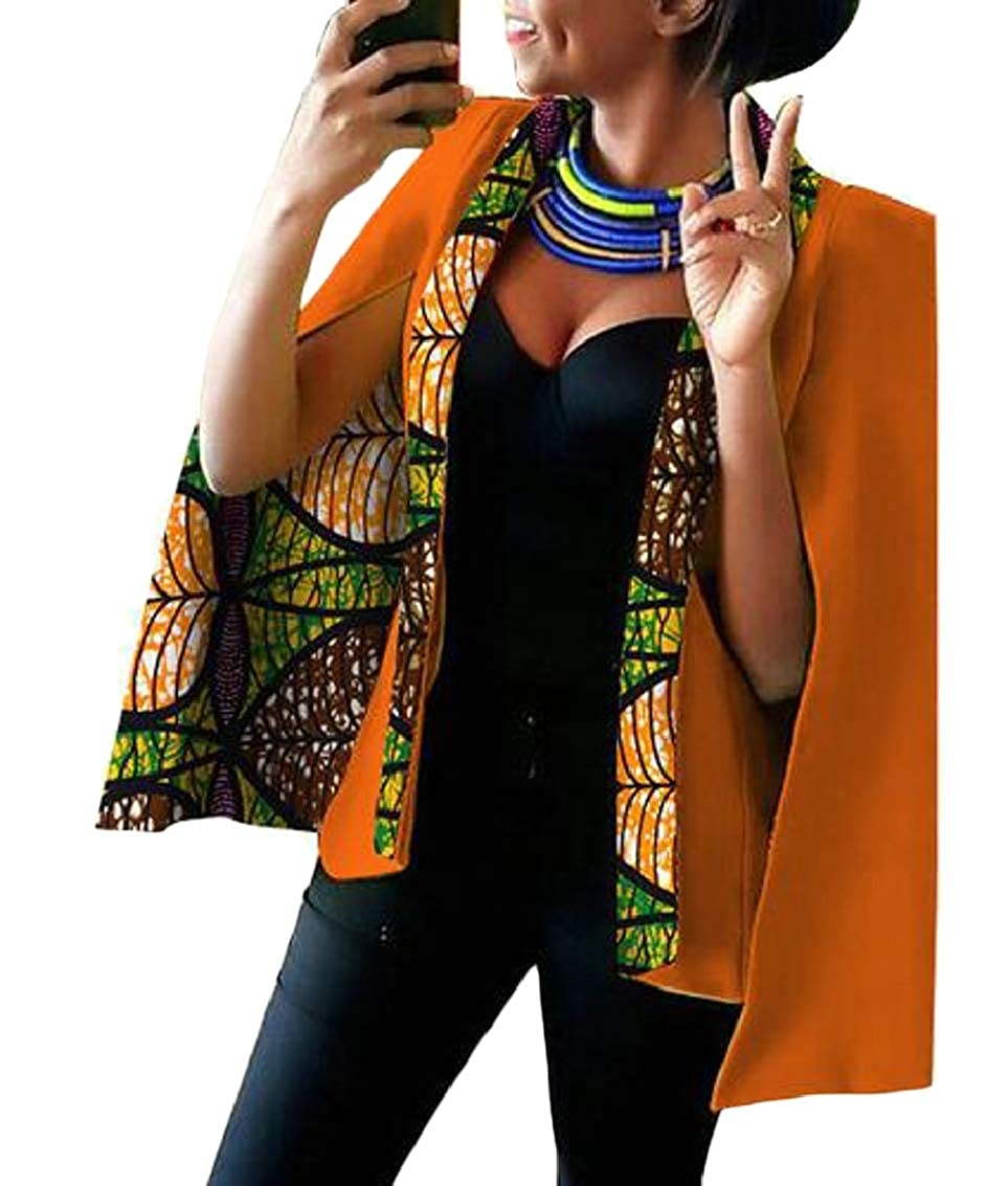 19 Women Casual African Print Shawl Split Sleeve Blazer Jacket Coats