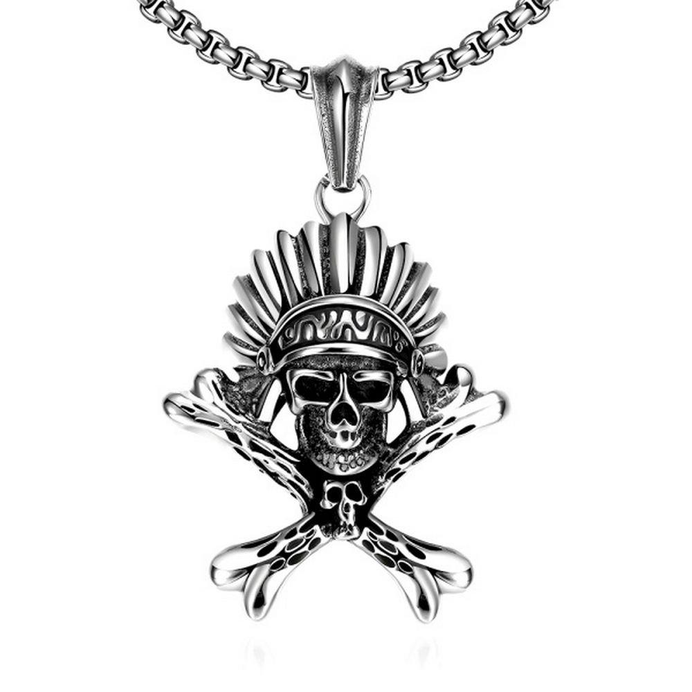 Edelstahl Herren Halskette mit Indianer Totenkopf Modeschmuck Ø 67mm