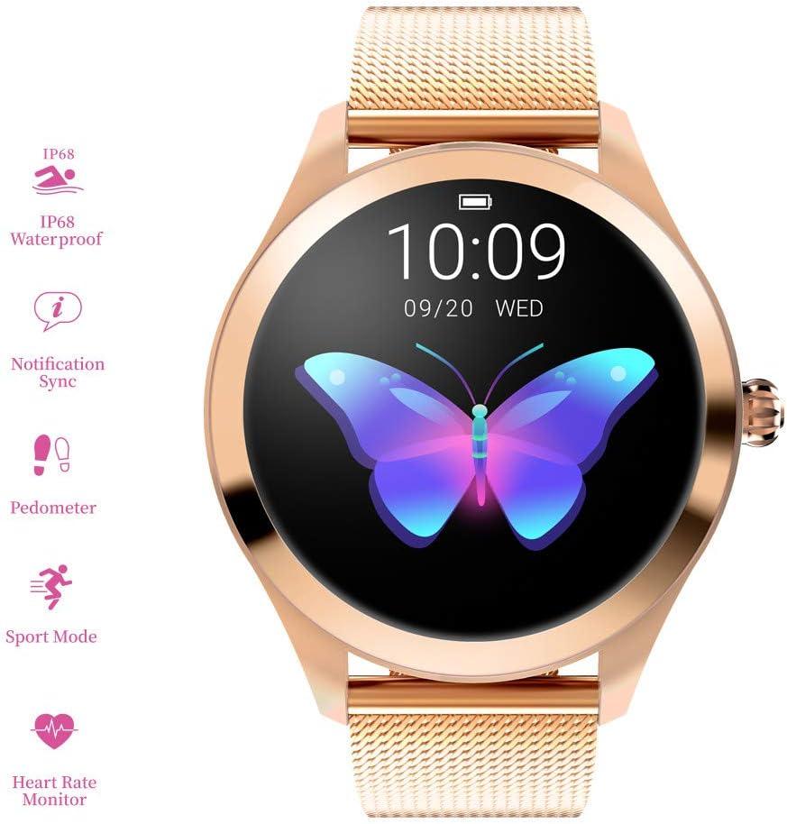 RanGuo - Reloj Inteligente para Mujeres, Deportes al Aire Libre Impermeable Smart Watch para Sistema Android y iOS, Apoyo recordatorio de Llamada y recordatorio de Mensaje (Correa de Acero, Dorado)
