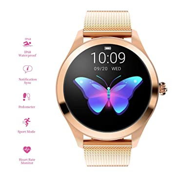 RanGuo Montre Connectée pour Femmes, Sports de Plein air IP68 imperméable Bluetooth Smart Watch pour