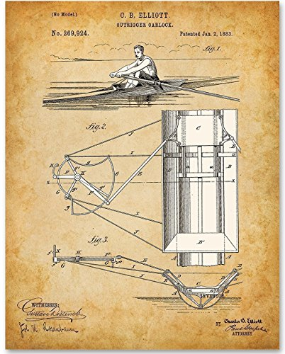 Rowing Boat Racing Sculling - 11x14 Unframed Patent Print - Great Gift for Rowers