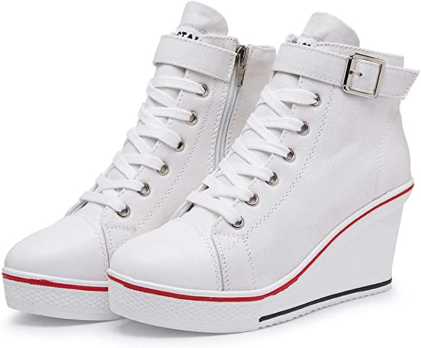 Women's Canvas Wedge Trainers 3.5-9 UK