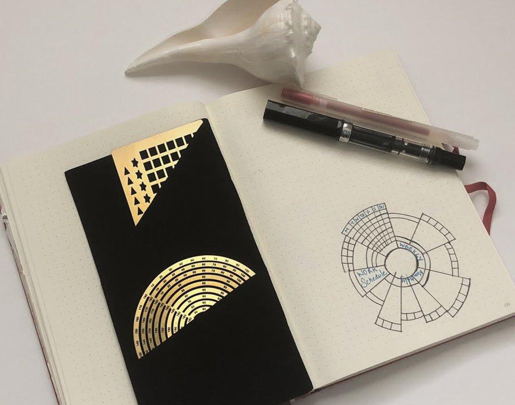 Premium Steel Metal Ruler Circle Stencil DIY Painting Letter Numbers Engraving Tool Template for Bullet Journal Adult Kids Calendar Notebook Planner Agenda Scrapbook Album Craft Supplies (Gold) by DHUNI (Image #4)