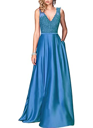 Now&Forever Womens V-neck A-line Lace Appliques Satin Long Formal Evening Prom Dress