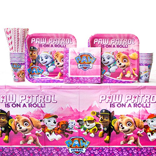 Cedar Crate Market Bundle: Paw Patrol Girl Party Pack for 16 Guests: Straws, Dinner Plates, Luncheon Napkins, Cups, and Tablecover (Bundle for 16) ()