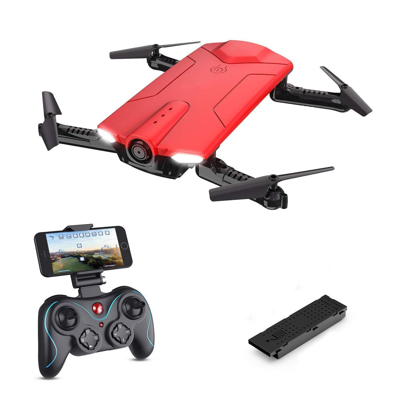 Rot-a WRJI Neue Art Mini FPV RC Drohne mit 720P HD Wi-Fi-Kamera Live-Video-Feed 2,4 GHz 6-Achsen-Gyro-Quadcopter für Kinder Anfänger - Höhe Halten Sie eine Taste Start Faltbare Arme Rot mit 2 Batterien