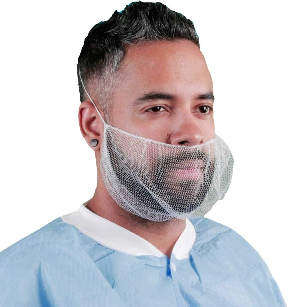 Dispoable Beard Cover Protector Elastic Beard Nets for Food Service Kitchen Latex Free (100, White)