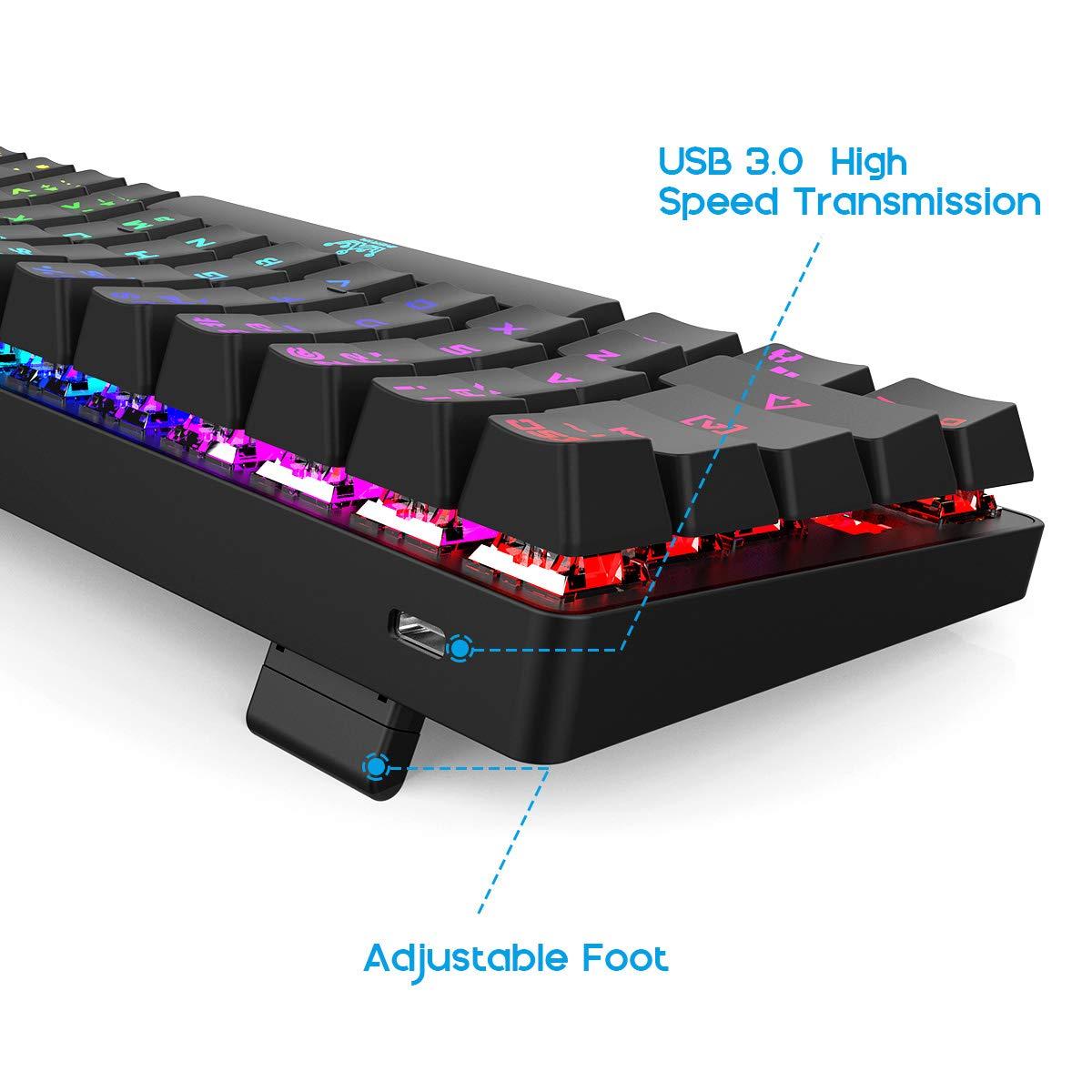 """Teclado de Juego Mec/ánico 60/% Bater/ía de 1900 mAh Cable Tipo C en Forma de /""""L/"""" para Jugadores y Mecan/&o Teclado de Computadora Al/ámbrico // Inal/ámbrico Bluetooth 4.0-63 Teclas Retroiluminaci/ón RGB Compacta"""