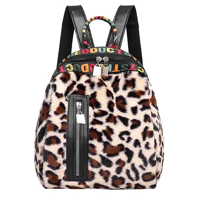 Hiroo-Borse a Spalla Leopardata Donna Borsa Zaino Borsa a Tracolla  Messenger Bag Borsa a 433f0cb27e7